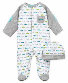 Little Me Baby Boys' 2-Piece Fast Cars Hat & Footed Coverall Set