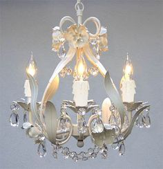 "WROUGHT IRON FLORAL CHANDELIER CRYSTAL FLOWER CHANDELIERS LIGHTING H15"" X W11"""