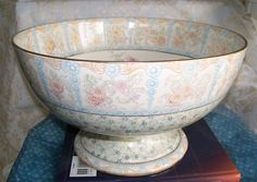 Breath Taking!! Antique Staffordshire DOULTON Grand PUNCH BOWL Pastels, Floral!