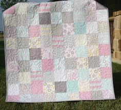 Shabby Chic Baby Girl Quilt Pastel Pink Aqua Grey White Gray Cottage - Willow fabrics by Riley Blake