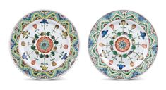 A pair of famille-verte dishes, Qing dynasty, Kangxi period (1662-1722)