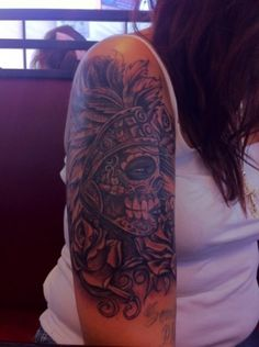 Aztec Dia de Los Muertos(Day of the Dead) tattoo. Beautiful!