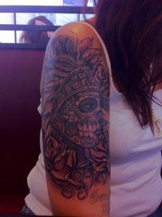 Aztec Dia de Los Muertos(Day of the Dead) tattoo. Beautiful!