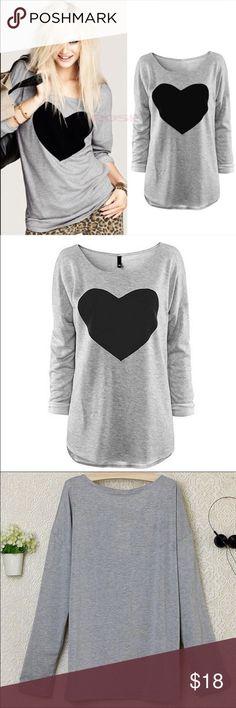 Long Sleeve Loose Fitting Heart Tee Thin gray long sleeve tee with large black heart. Fits like a M. Tops Tees - Long Sleeve