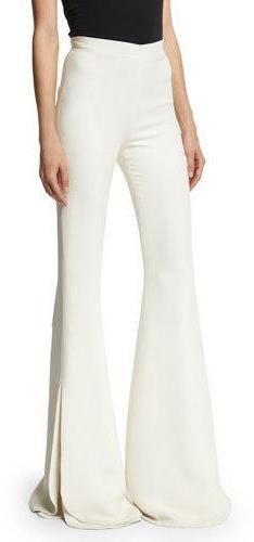 Brandon Maxwell Petal Layered Bell-Bottom Pants, Ivory