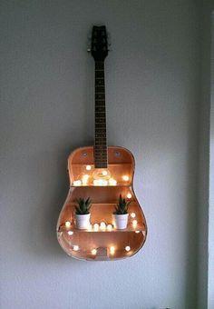 Image de guitar, light, and diy
