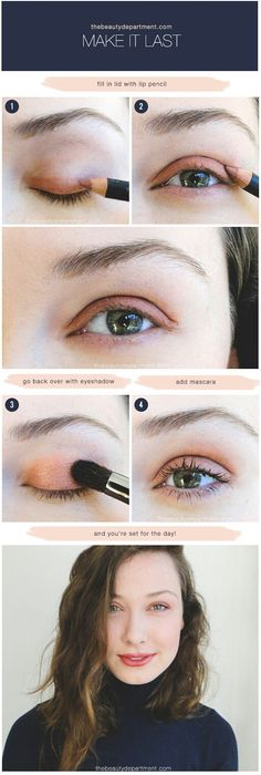 This is my absolute favorite favorite favorite way to prime the eyelids because not only does the waxy but smooth formula of a lip pencil lock the eye shadow down for the day, the nude shade actually warms up lighter eye shadows, creating a gorgeous glow. It's pretty awesome. And since I'm guessing most of...