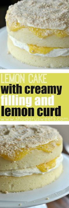 Homemade Lemon Cake topped with a creamy lemon filling and lemon curd! A delicious dessert recipe for any night of the week!