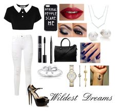 """""""Your Wildest Dreams✨"""" by makamae143 ❤ liked on Polyvore featuring Frame Denim, Brian Atwood, TheBalm, Christian Dior, H&M, Mikimoto, FOSSIL, Paul & Joe, Lottie and Kobelli"""