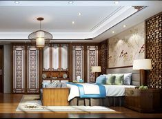 This chinese style bedroom combines all important qualities, from comfort, interior decoration, and ends with space preservation. But more on this lat. Chinese Interior, Asian Interior, Chinese Design, Chinese Style, Traditional Chinese, Awesome Bedrooms, Beautiful Bedrooms, Asian House, Hotel Interiors