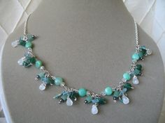 Sterling Silver Chain Green & White Semiprecious by KHJewelco, $52.00