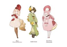 Sugar and spice Character Design Cartoon, Fantasy Character Design, Character Design References, Character Design Inspiration, Character Concept, Character Art, Concept Art, Anime Chibi, Kawaii Anime