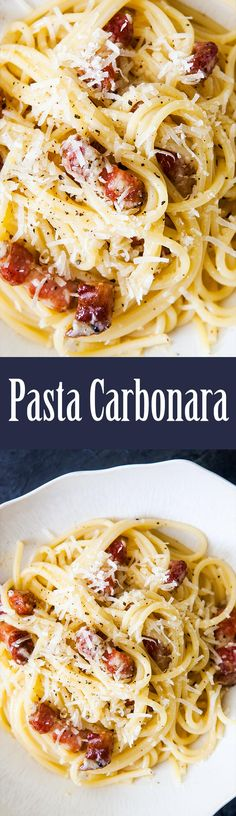 Spaghetti Pasta Carbonara—so EASY, takes only 30 min start to finish! With bacon or pancetta and loads of Parmesan. Everyone loves this pasta classic! On SimplyRecipes.com