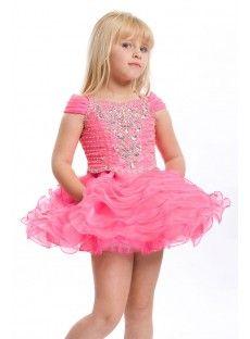 Pink A Line Girls Pageant Dress