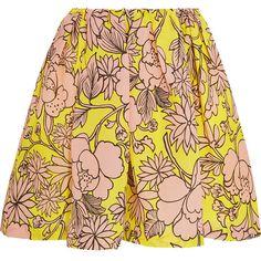 MSGM Floral-print textured-silk mini skirt ($286) ❤ liked on Polyvore featuring skirts, mini skirts, yellow, red floral skirt, floral mini skirt, short mini skirts, yellow mini skirt and floral print skirt