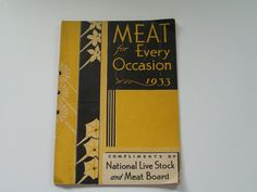 Meat for Every Occasion 1933 Booklet by PrettyPoodleAntiques, $6.00