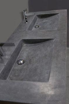 Forzalaqua Napoli wastafel Rechthoek 60x160x10 Hardsteen Gezoet Grijs blauw - 100041 - Sanitairwinkel.nl