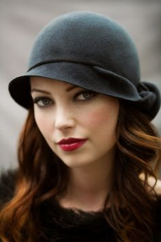 The Twist Cloche Hat - Slate Blue Wool Felt, Elegant Every Day Hat.