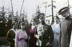 Family outing: Tsar Nicholas poses with his four daughters (L-R)Maria, Anastasia, Olga and Tatiana