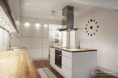 Поверхность светлой кухни под дерево