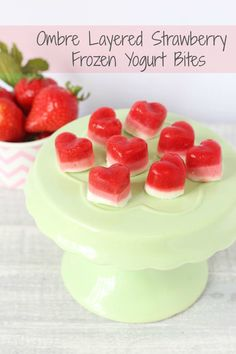Layered Ombre Strawberry Frozen Yogurt Bites. A delicious low sugar and low calories snack for summer!   My Fussy Eater Blog