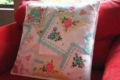 Vintage Hankie Pillow - Love this, but I am not sure I could cut my antique hankies to do this...