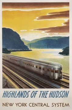 Vintage New York train travel poster repro Train Posters, Railway Posters, Travel Ads, Train Travel, Travel Europe, Vintage Advertisements, Vintage Ads, Vintage Trains, Retro Poster