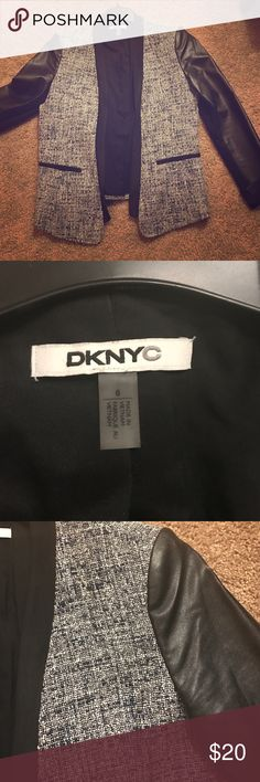 DKNYC Blazer Faux leather sleeves, faux suede collar blue and black print blazer DKNYC Jackets & Coats Blazers