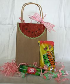 Love the favor bags with watermelon flavored candy!