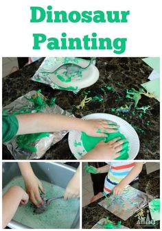 Dinosaur Painting on Foil. A fun art activity for toddlers, preschoolers and older kids to enjoy doing together.
