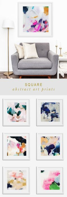 Colorful and vibrant abstract art prints in square sizes via Parima Studio
