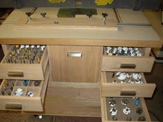 ROUTER - Cabinet with all the Bits Inserted in Foam Sheet. Woodworking Router Table, Wood Router, Woodworking Skills, Woodworking Workshop, Woodworking Projects, Shop Storage, Shop Organization, Organizing Ideas, Wood Tool Box