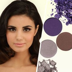 To make those gorgeous brown eyes pop, try a mix of mauve and purple.  A purple eye shadow will give that little extra glow.