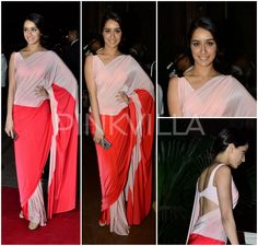 Shraddha Kapoor in Shivan  Shraddha Kapoor gave us a very unexpected look at the Arpita - Aayush Wedding reception last night. Ditching the heavily embellished outfits that everyone goes for at such events, Shraddha took the minimalistic route in a color blocked Shivan and Narresh saree. She kept the hair and make up clean and simple.  She was styled by Tanya Ghavri.