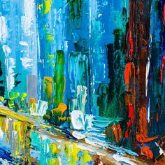Working with a bright and colorful palette 'Blue City'.