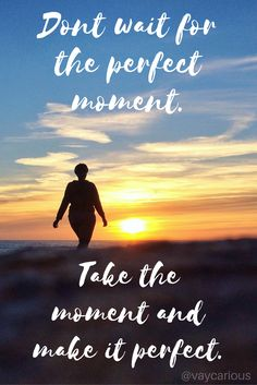 Inspirational Quote: Don't wait for the perfect moment. Take the moment and make it perfect.