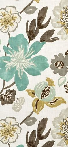 Braemore Gorgeous Pearl floral fabric in turquoise blue, gray and gold tones. Beautiful for bedroom or living drapery