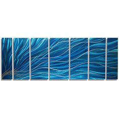 Aqua & Silver Bright Modern Metal Painting Abstract Wall Sculpture... ($375) ❤ liked on Polyvore featuring home, home decor, wall art, black, home & living, home décor, wall décor, wall hangings, wave painting and magnetic signs