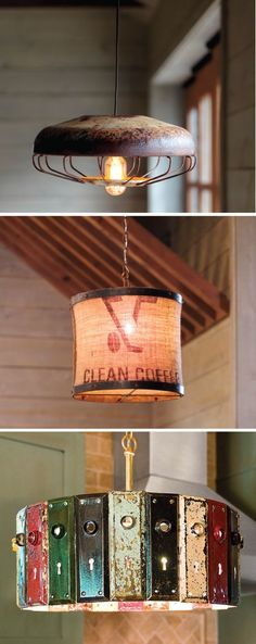 unique lighting in a rental -- inspiration from a upcycled shop online! - I appreciate the fact that most of these items are recycled/repurposed - Amazing what people come up with - Rustic Lighting, Unique Lighting, Lighting Ideas, Kitchen Lighting, Outdoor Lighting, Task Lighting, Industrial Lighting, Vintage Lighting, Pendant Lighting