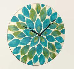NEW  Original Art Wall Clock 12-Inch Blue and by makingtimetc