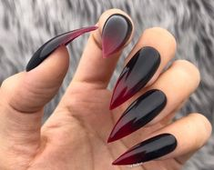 Vamp black red ombre glossy halloween press on nails any shape fake nails false nails glue on nails 67 blonde balayage haarfarben fr sommer und herbst Coffin Nails Ombre, Cute Acrylic Nails, Glue On Nails, Black Stiletto Nails, Red Black Nails, Red Ombre Nails, Long Black Nails, Matte Red, Red Bottom Nails