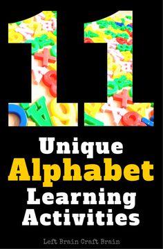 11 Unique Alphabet Learning Activities Left Brain Craft Brain