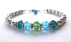 Emerald Bracelet Turquoise Crystal Teal Green #summer