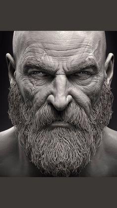 grafic disein of kratos the god of war Guerrero Tattoo, Portrait Art, Portraits, Kratos God Of War, War Tattoo, Braut Make-up, Male Face, Zbrush, Game Art