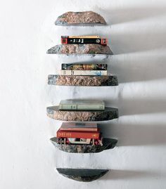 Creative Stone Hanging Bookshelf Design