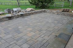 patio paver designs | cultured stone and pavers complete on the pergola patio interior ...