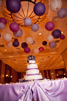 Why not extend your wedding colour scheme by using our hanging paper lanterns? To recreate this theme simply mix dark purple, violet, lavender and ivory lanterns and use a variety of sizes to create the texture of the canopy.