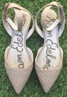 0c6d6bf44f4f2 19.99 ❤ Sam Edelman Brina Flats Womens 7 Shoes Beige Studded Pointed Toe  Ankle Strap