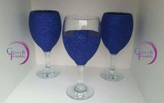 Metallic blue glitter glasses