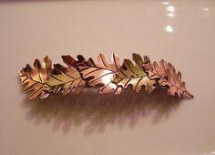 Mixed Metals Scattered Leaf Barrette   Large by RestringIt on Etsy, $50.00